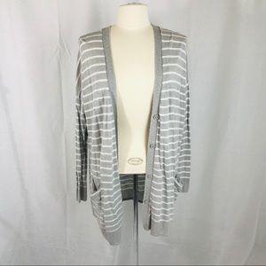 New York & Co Gray White Striped Button Cardigan